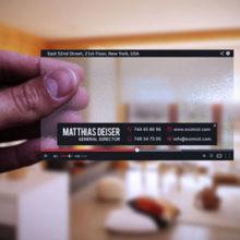 Прозрачный макет визитной карты оформленный как видеоплеер