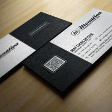 Стильная чёрно-белая визитка с выборочной ламинаций