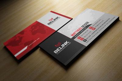 красная двусторонняя визитка