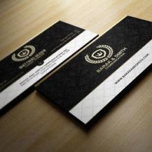 Двусторонняя классическая визитка с красивым чёрным фоном