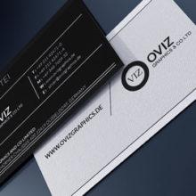 Чёрная двусторонняя визитка с классическим оформлением