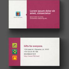 Классическая визитка с цветными иконками