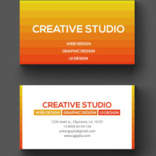 Оранжевый шаблон визитки в PSD