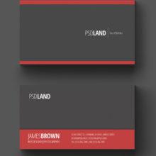 Красно-серая визитная карточка в PSD