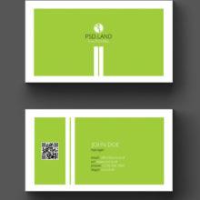 Светло-зелёный макет визитки с белыми краями