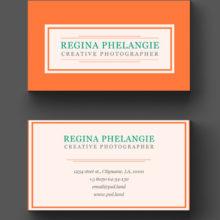 Оранжевая визитка с белой рамочкой