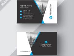 Черно-белая визитка PSD для организации