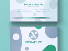 Зелено-серая минималистическая визитка PSD