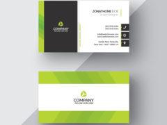 Зелено-белая визитка PSD