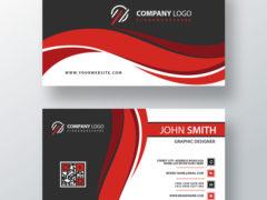 Красный волнистый шаблон визитной карточки PSD