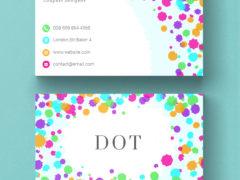 Визитная карточка с цветными точками PSD